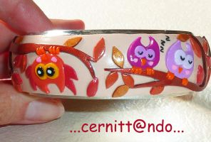 "Polymer clay bangle ""Owls"" by cernittando"