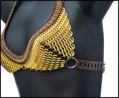 YellowBrownBlack Maille Bra 2 by FeMailleTurtle