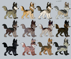 Wolf or fox adoptables -POINTS AND PRICE REDUCED- by Kitchiki