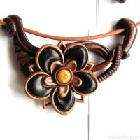 Flower - hand carved necklace by AmberSculpture