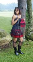 Red plaid skirt with chains by funkyfunnybone