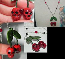Skull Cherries Necklace by Secretvixen