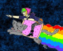 THAT girl rides NyanCat by kittykinetic
