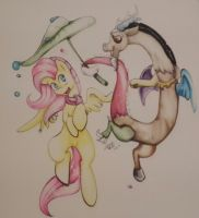 Fluttershy /Discord Rainy day by LuziaLightMaker