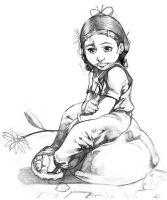 Little Girl Illustration by Bullettrainstudios