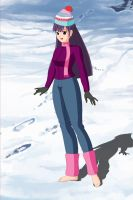 New OC Vanessa, barefoot at snow by Hisui-lover