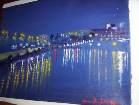 Night painting: barcelona by AaronLi-Hill