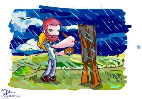 van gogh painting in the rain by foice