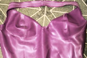 Latex Purple Halter Dress by ParadoxJaneDesigns