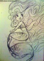 Mermaid sketch by kinkei