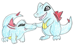Totodile sisters: One for sale by Dragon-of-Twilight