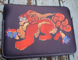 Foo dog laptop case by missmonster