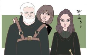 Game of Thrones - Hodor, Bran, and Osha by howardshum