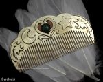 'Emerald heart', handmade brass comb by seralune