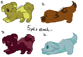 Puppy Adoptables (5 points each!) (3 left!) by MegathonMoon