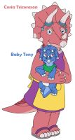 Ceria Tricerason and her baby Tony by MCsaurus
