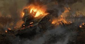 The burning tank by Pervandr