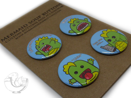 Dinosaurs pin back button set by MermaidSoupButtons