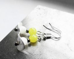 Czech Glass and Lemon Jade Sterling Silver Earring by crystaland