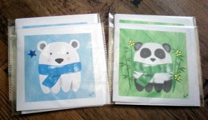 Panda and Polar Bear - Cards by rockgem