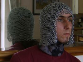 Viking Chainmaille Coif WIP by kingtut98