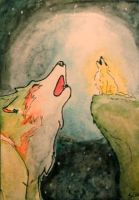 ACEO 145 - Howling with the Golden Wolf by Clopina