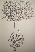 tree with octopus roots by forgetmenow