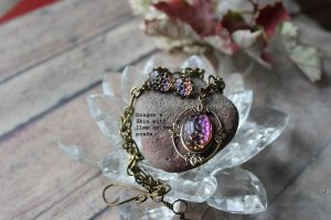 Dragon Skin on Leaves Necklace by artistiquejewelry