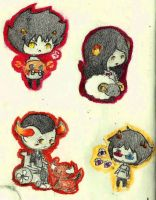 Karkat, Aradia, Sollux, and Tavros Chibis by TheCherryGoldfish