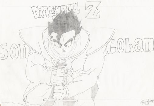 Son Gohan in BW by scorpionthe1