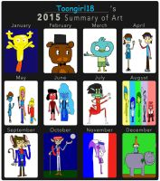 Toongirl18's 2015 Summary of Art by Toongirl18