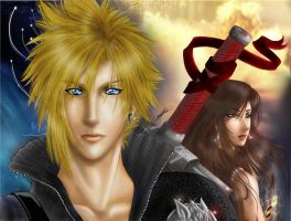 Cloud and Tifa advent children by CameDorea
