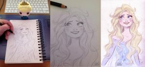 Quick Disney's Elsa sketch by princekido
