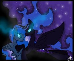 Luna and Nightmare Moon -With Speedpaint- by Fantastic-Lion00