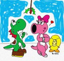 Yoshi, Birdo, and Mistletoe by wackko200