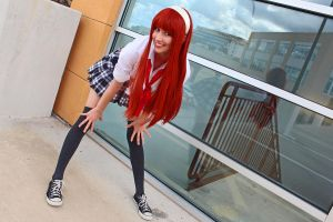 Plaid Skirt, Red Hair by Toneriko