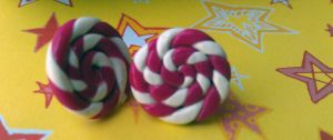 Grape Mint Candy Swirl Post Earrings by Gynecology