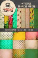 9 Vintage Tropical Papers by Whimsical-Adventure