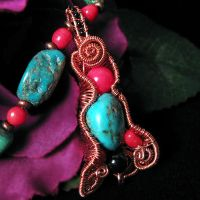 Copper and Turquoise Necklace by sylva