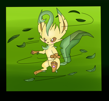 ( Pokemon ) Leafeon Used Razor Leaf Collab by KrazyKari