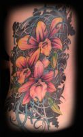 orchid tattoo by dustinpooletattoos