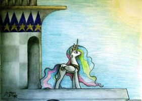 Princess Celestia on the balcony by Ponystarpony