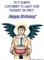 Castiel - Birthday Card by crzydemona