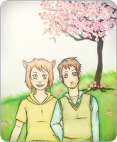 Drawing Request 3 - Under the tree by Naruneyl