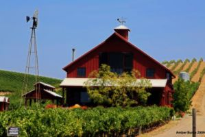 Red Farmhouse in Napa by XanthicAmber
