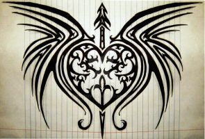 Tribal-Winged Heart by MagpieVon