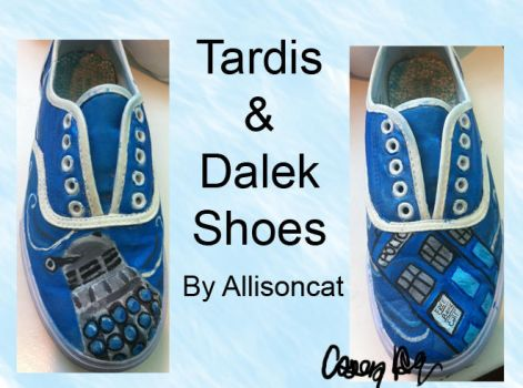 Dalek and Tardis Shoes by caseyhoke