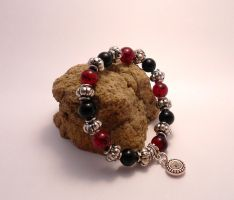 For Sale: Marbled Crimson Bracelet by Wirejeweller