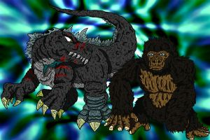 AT-Godzillasaurus and Kong by earthbaragon