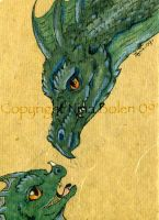 Mom and Baby Dragon ACEO by The-GoblinQueen